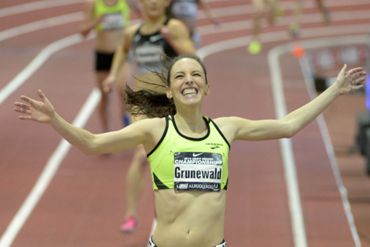 After the withdrawal of an appeal, Gabe Grunewald wins the women's 3000 Meters.( Kirby Lee-USA TODAY Sports)