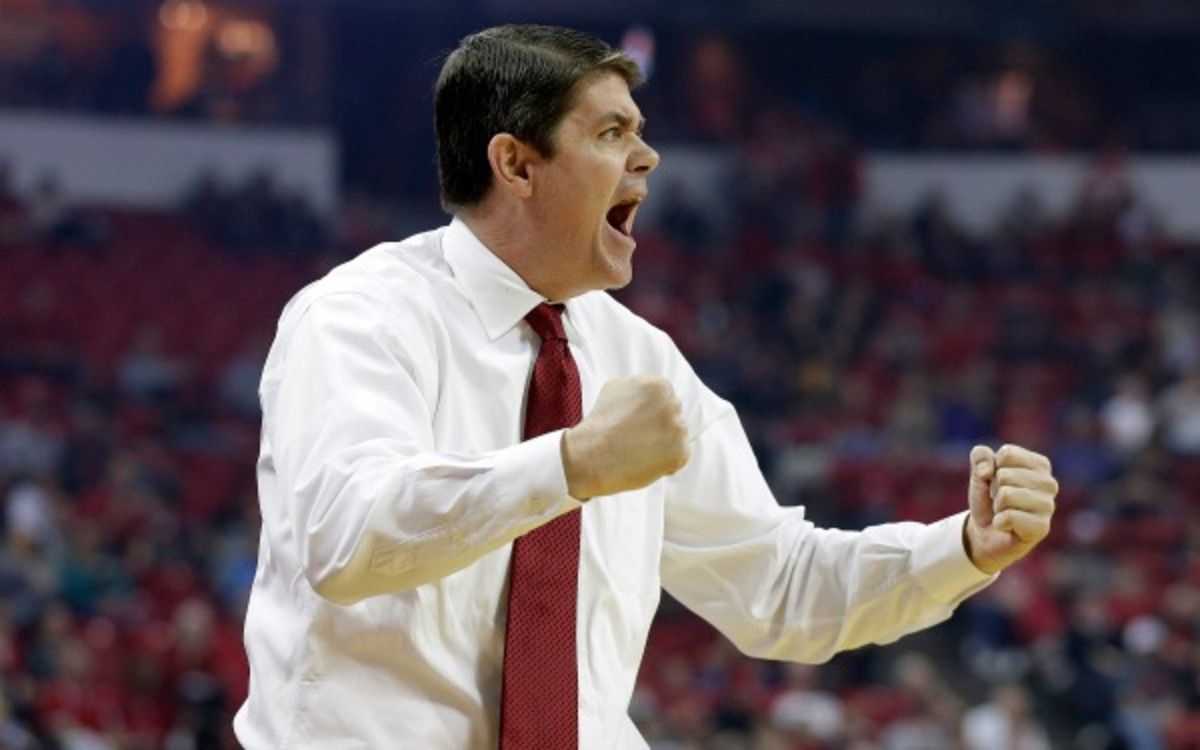 Dave Rice has led the UNLV to two NCAA tournament appearances in three seasons at the school (AP Photo/Isaac Brekken)