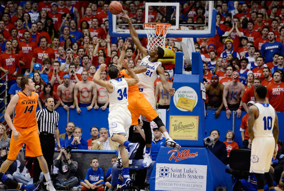 Joel Embiid is averaging 2.9 blocks per game and totaled a career-high eight against Oklahoma State.