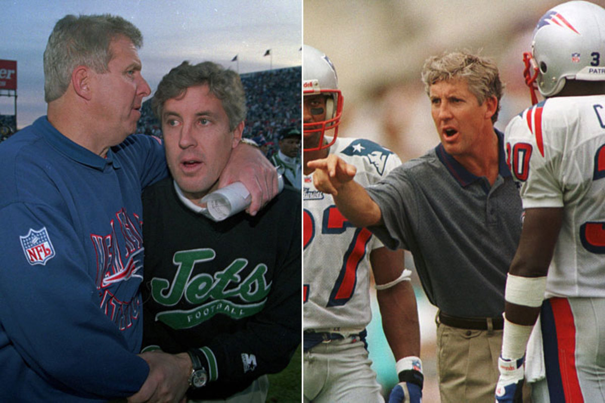 Carroll as Jets coach in 1994 with Parcells— the man he'd succeed as Patriots coach in '97. Neither of those stints ended well. (Winslow Townson/AP :: Jim Rogash/AP)