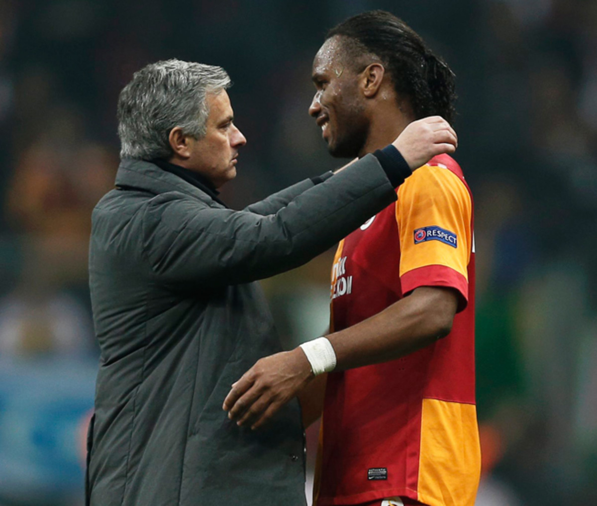 Chelsea manager Jose Mourinho, left, will have to gameplan for his former star, Galatasaray's Didier Drogba, ahead of their Champions League matchup this week.