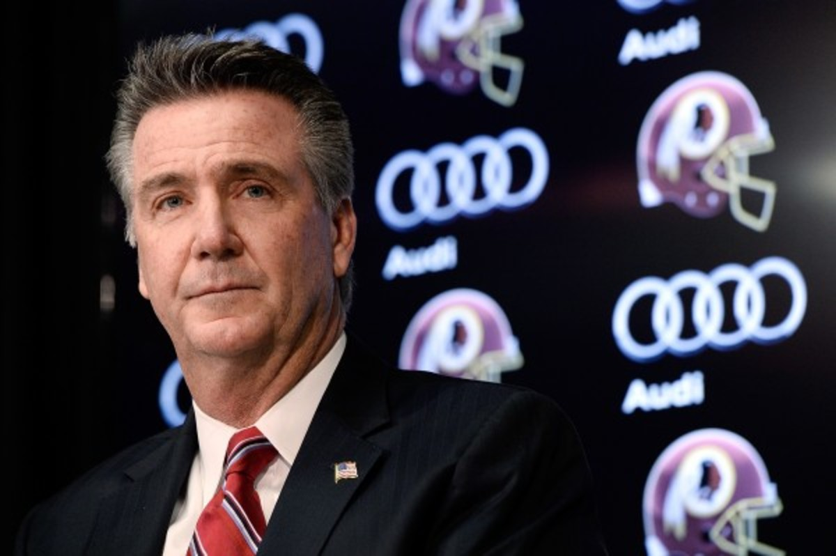 """Redskins team owner Dan Snyder said he thinks """"the world"""" of Bruce Allen and said both titles are appropriate. (Patrick McDermott/Getty Images)"""
