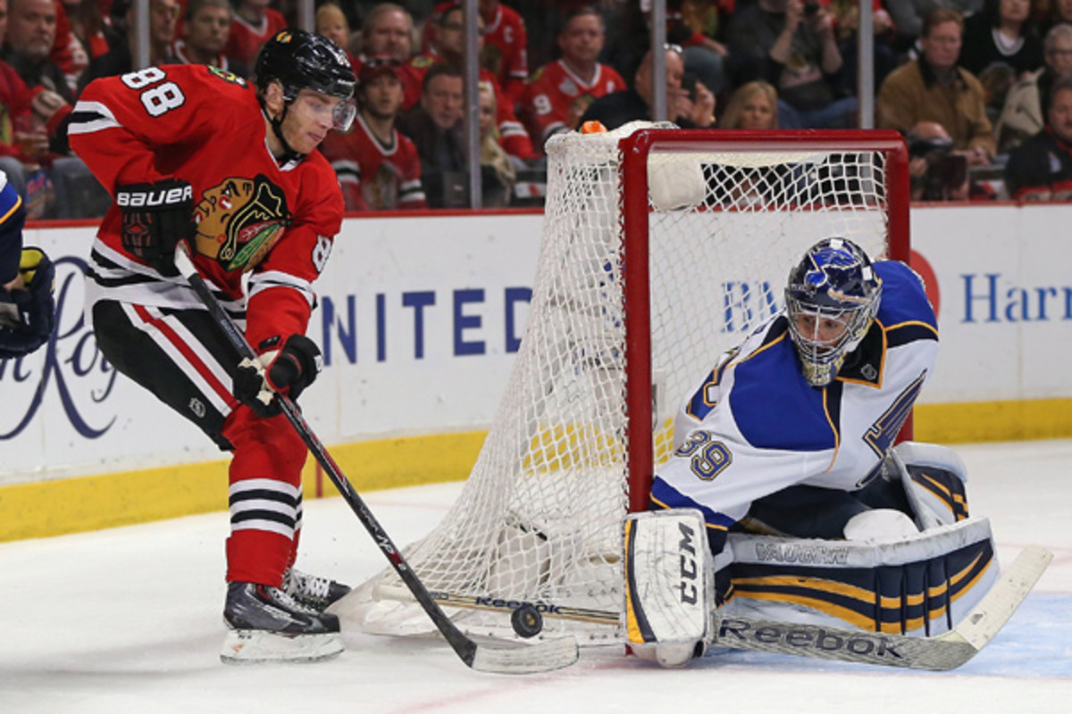 Patrick Kane and the Blackhawks gave Ryan Miller and the Blues plenty to think about in the offseason (Jonathan Daniel/Getty Images)