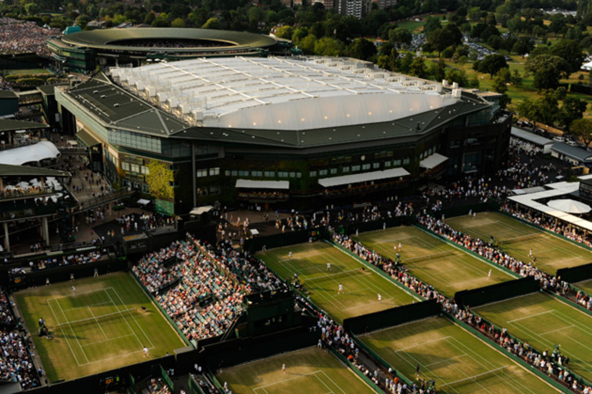 An aerial view of the All England Lawn Tennis & Croquet Club with the Centre Court roof closed for the first time during The Wimbledon Championships 2009.