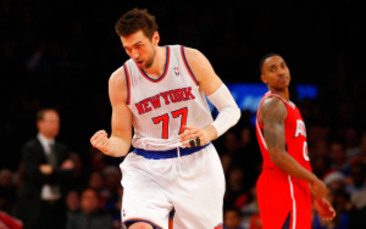 Andrea Bargnani is averaging 13.3 points and 5.3 rebounds this season. (Jim McIsaac/Getty Images)