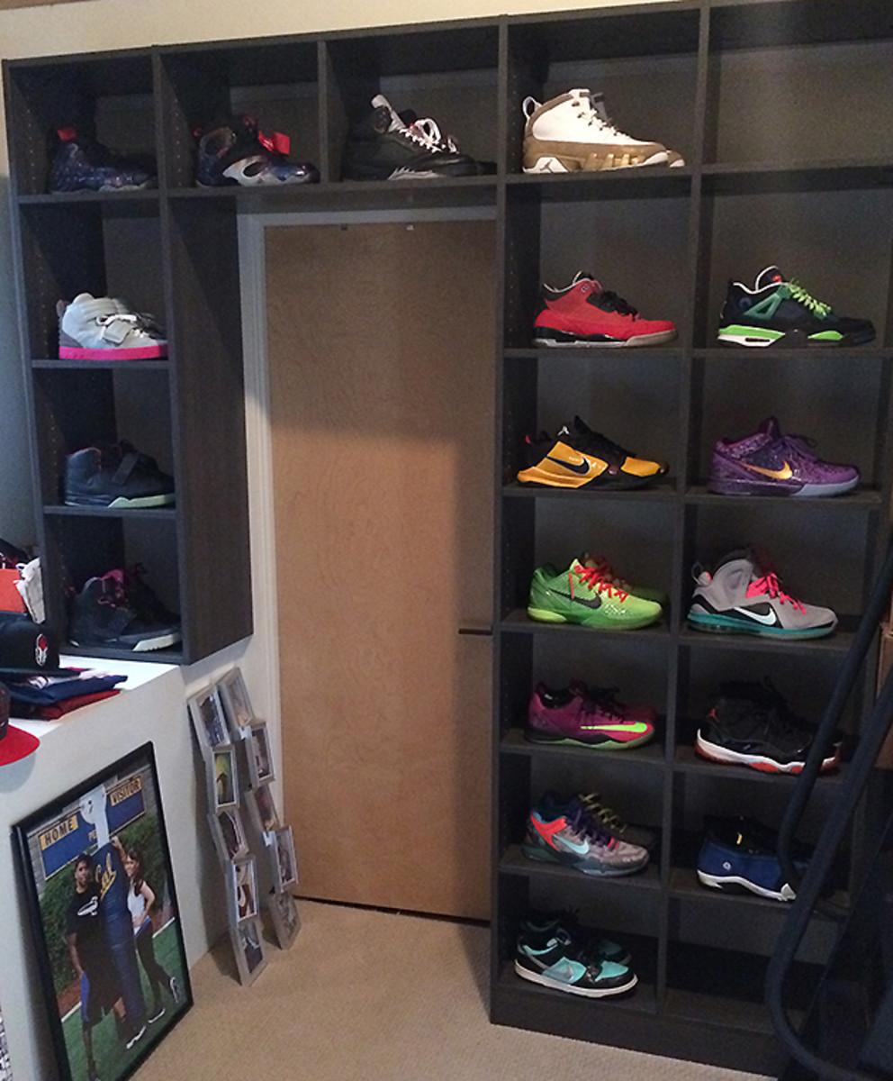 DeCoud's extensive shoe collection.
