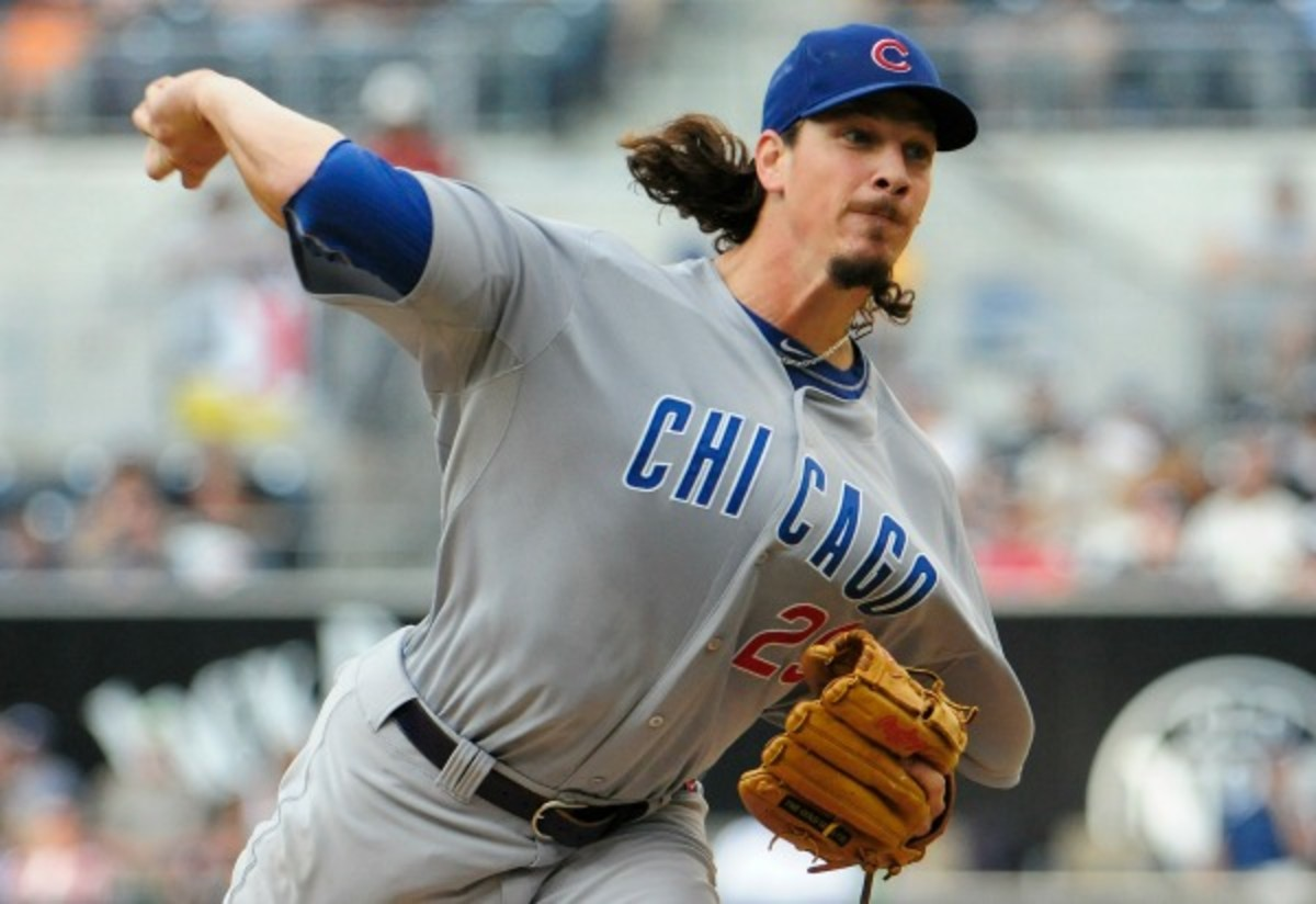 Jeff Samardzija is ??-?? in two seasons as a Cubs starting pitcher. (Denis Poroy/Getty Images)