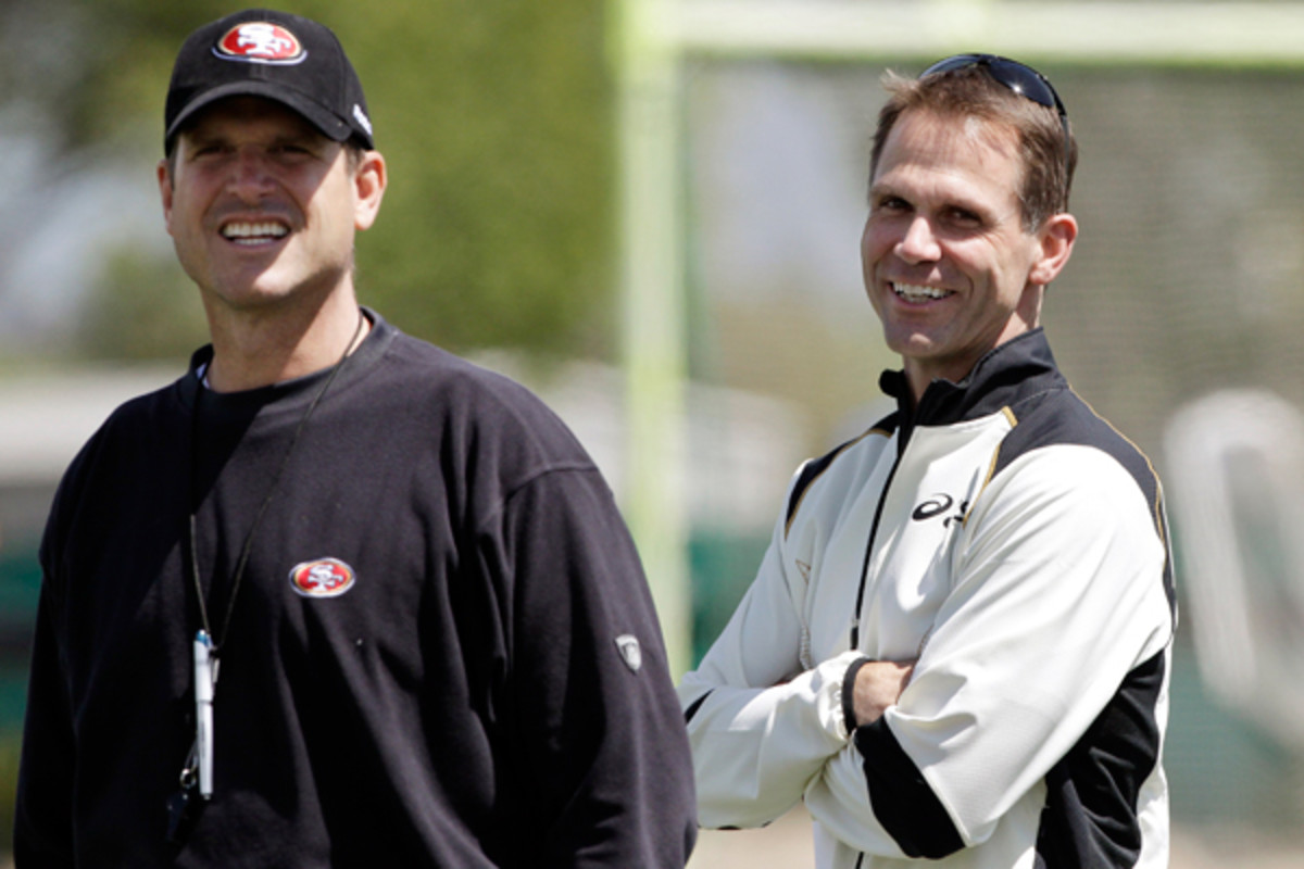 Jim Harbaugh (left) and Trent Baalke have had an interesting professional relationship.