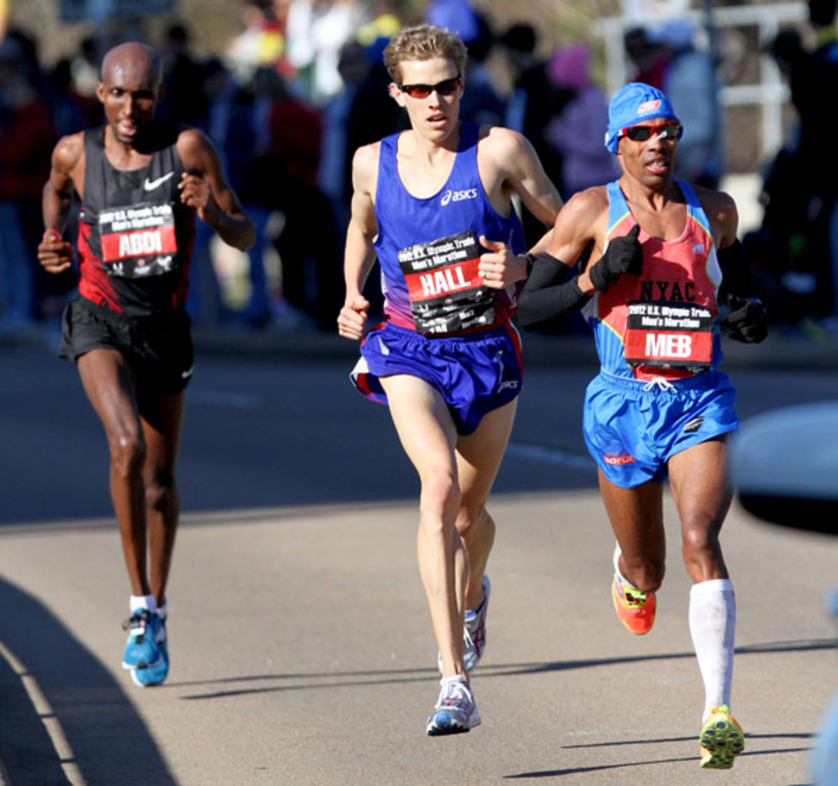 Meb Keflezighi, Ryan Hall and Abdi Abdirahman compete in the U.S. Marathon Olympic Trials in January 2012 in Houston, Texas.