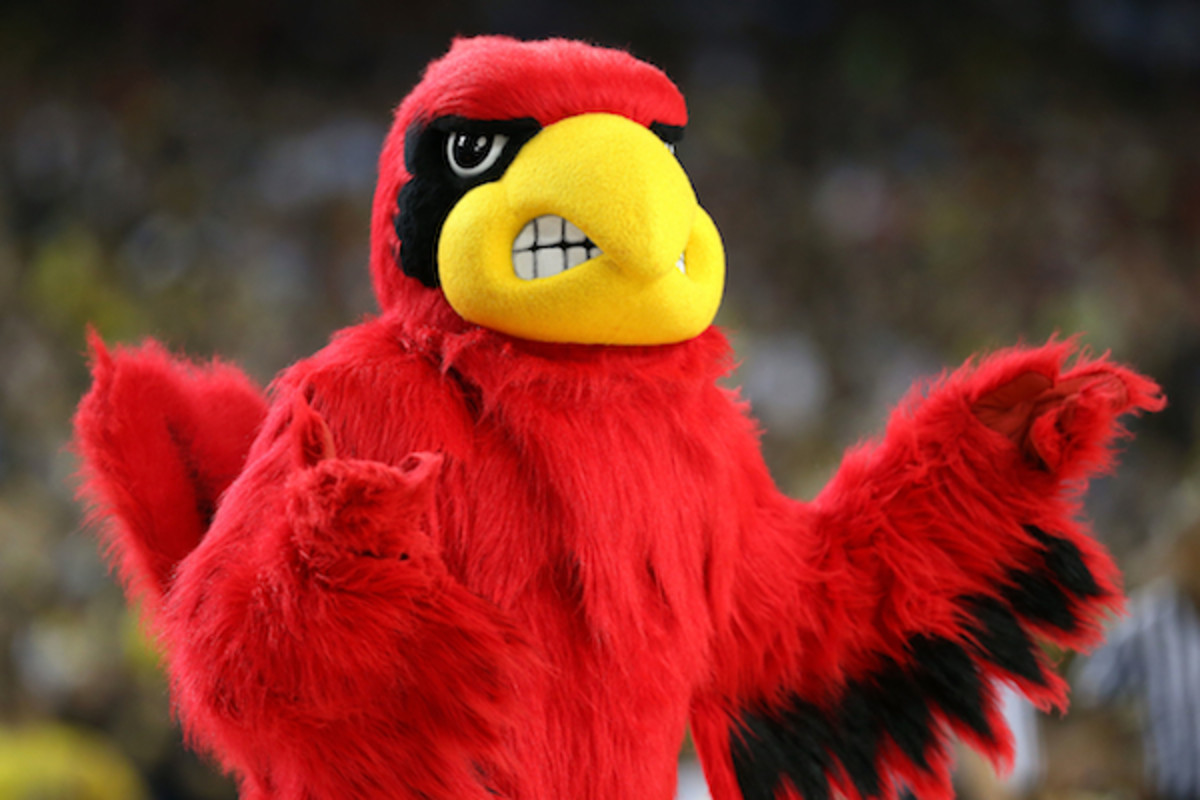 Louisville mascot furious over its #4 seed in the region of death. Or, just standing there. (Getty Images)