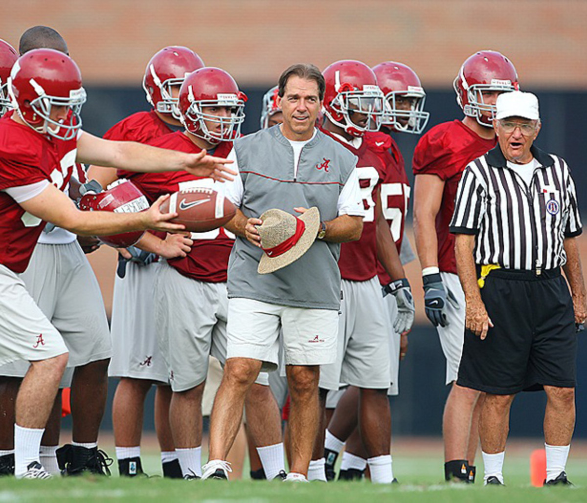 Saban banned discussion from players of the stifling conditions at preseason practice.