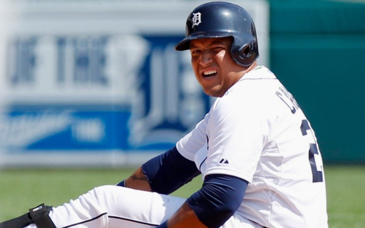 Miguel Cabrera exited Friday's game early with an abdominal injury. (Duane Burleson/Getty Images)