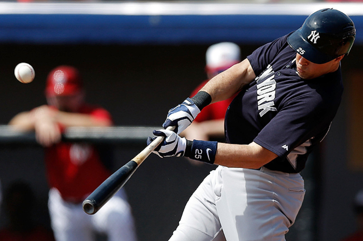 Mark Teixeira left Friday's game in the second inning after he was injured trying to field a foul grounder.