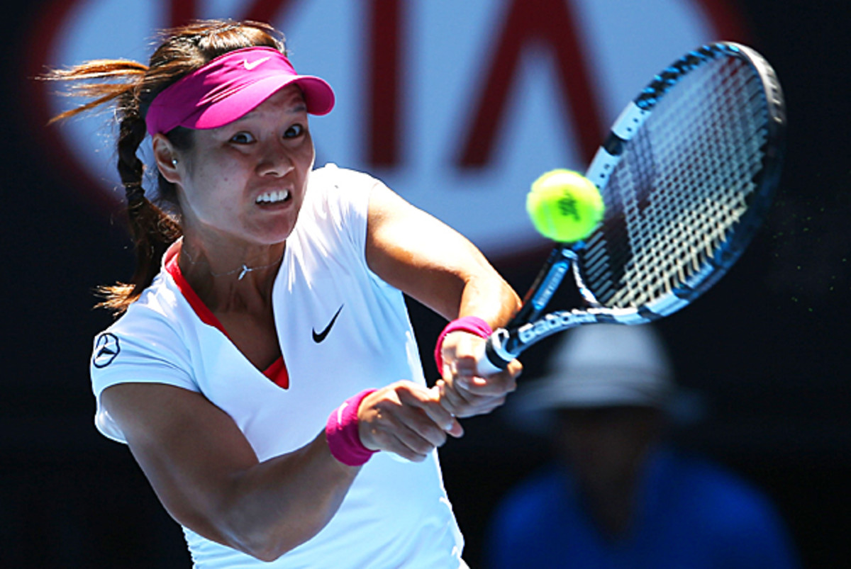 Li Na set the pace of the match when she jumped up to a 5-0 lead in the first set against Eugenie Bouchard. (Mark Kolbe/Getty Images)