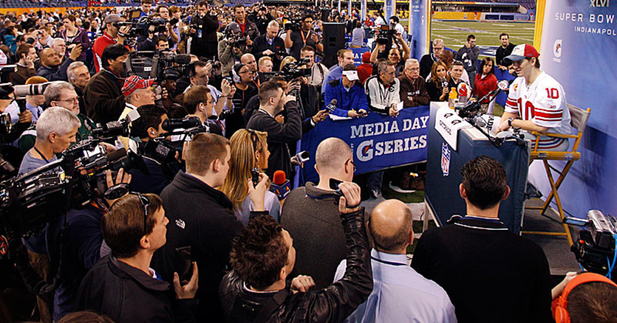 Media Day is always a circus. (Eric Gay/AP)