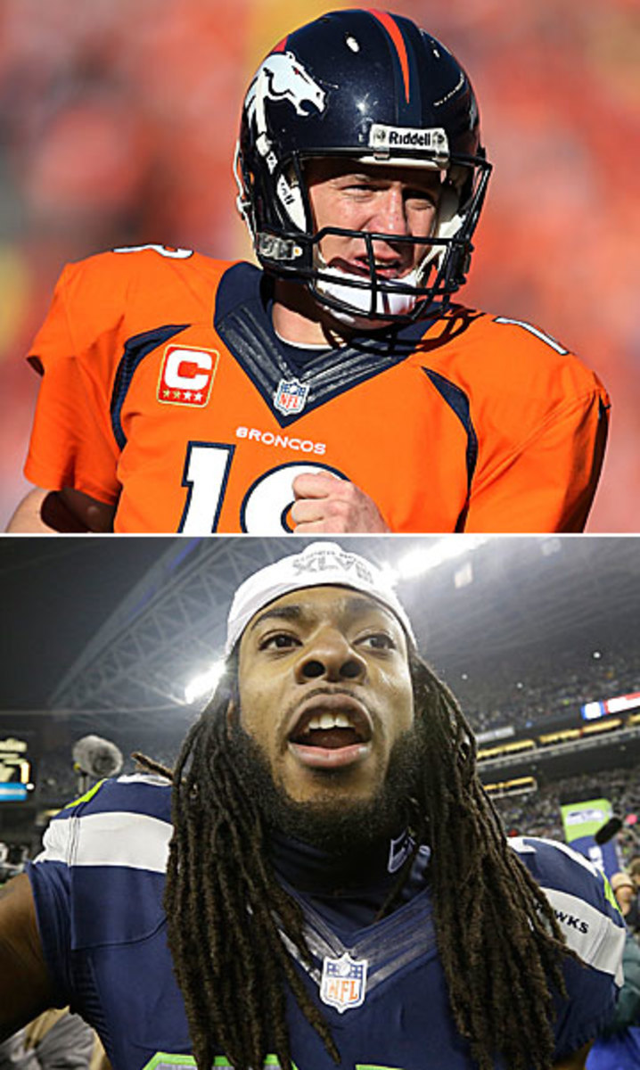 Peyton Manning and Richard Sherman will be the two players with the most focus on them next week. (Tom DiPace/SI :: Elaine Thompson/AP)