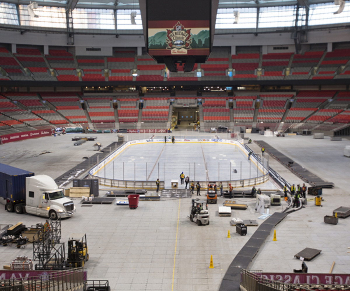 Workers build the rink for the 2014 Heritage Classic Game at B.C. Place in Vancouver, B.C., Canada.   (Photo by Kevin Light/NHLI via Getty Images)