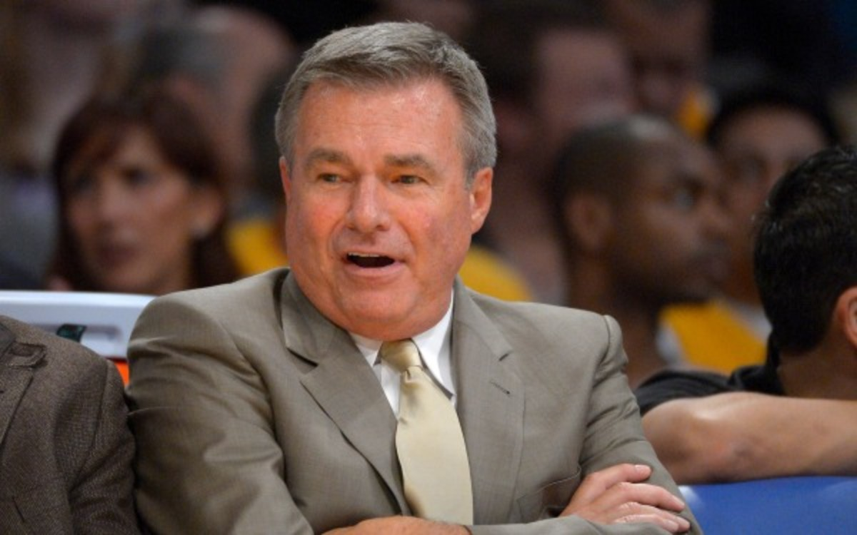 Los Angeles Lakers assistant coach Dan D'Antoni looks on during the second half of their NBA basketball game against the Denver Nuggets, Friday, Nov. 30, 2012, in Los Angeles. The Lakers won 122-103. (AP Photo/Mark J. Terrill)