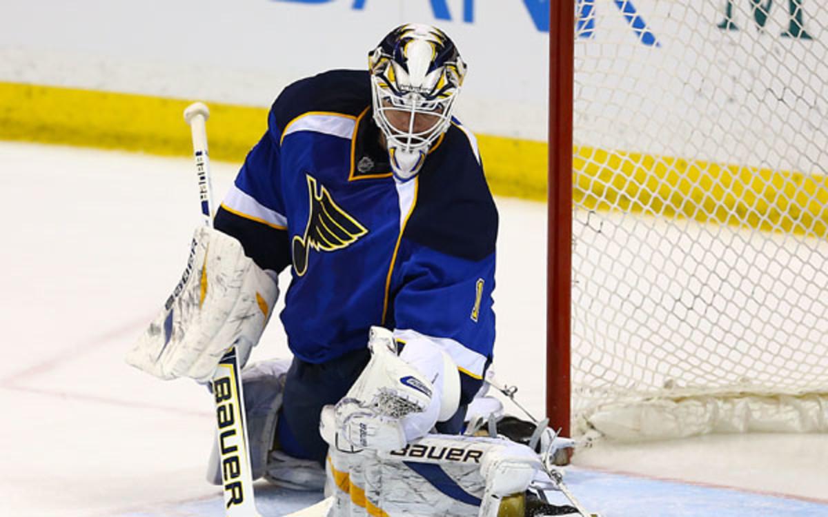 Blues goaltender Brian Elliott had four shutouts last seasons. (Billy Hurst/Cal Sport Media via AP Images)