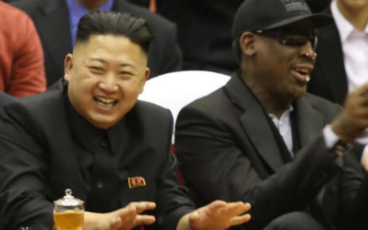 "Dennis Rodman is reportedly back in North Korea to visit ""friend"" Kim Jong Un. (AP Photo/Jason Mojica)"