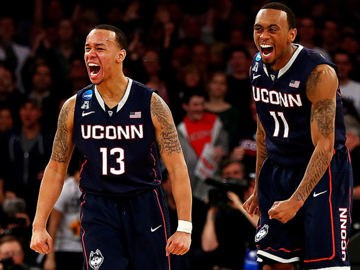 Shabazz Napier (13) and Ryan Boatright were the keys to UConn's upset of Michigan State. (Elsa/Getty Images)