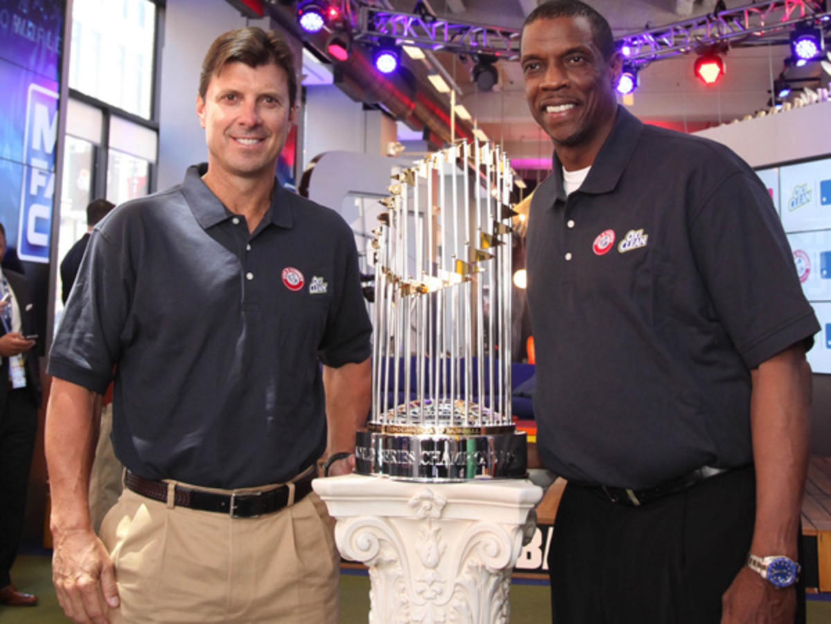 Tino Martinez and Dwight Gooden were both part of New York's 1996 World Series team along with Derek Jeter. (Rob Kim/Getty Images)