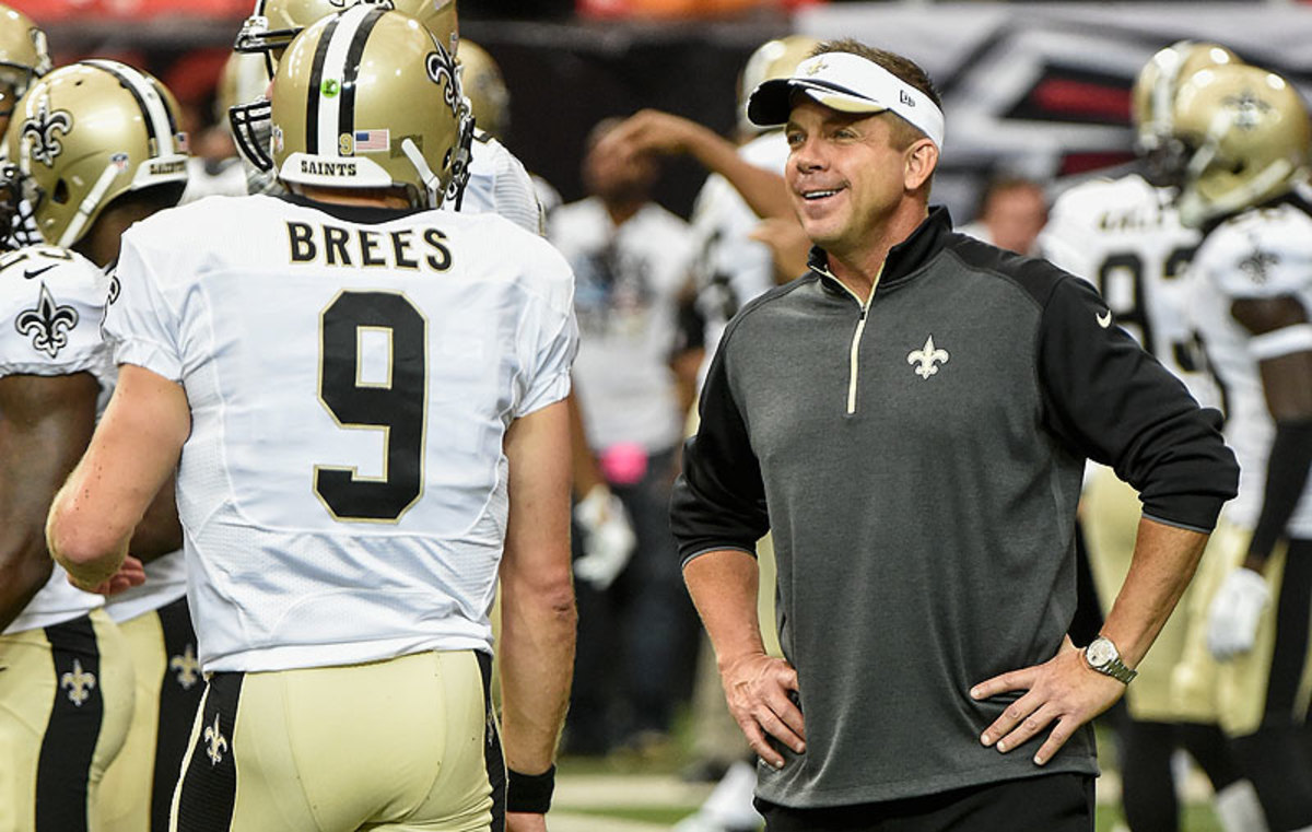 There hasn't been much for Sean Payton and Drew Brees to smile about during the Saints' surprising 1-3 start to the season. (Scott Cunningham/Getty Images)