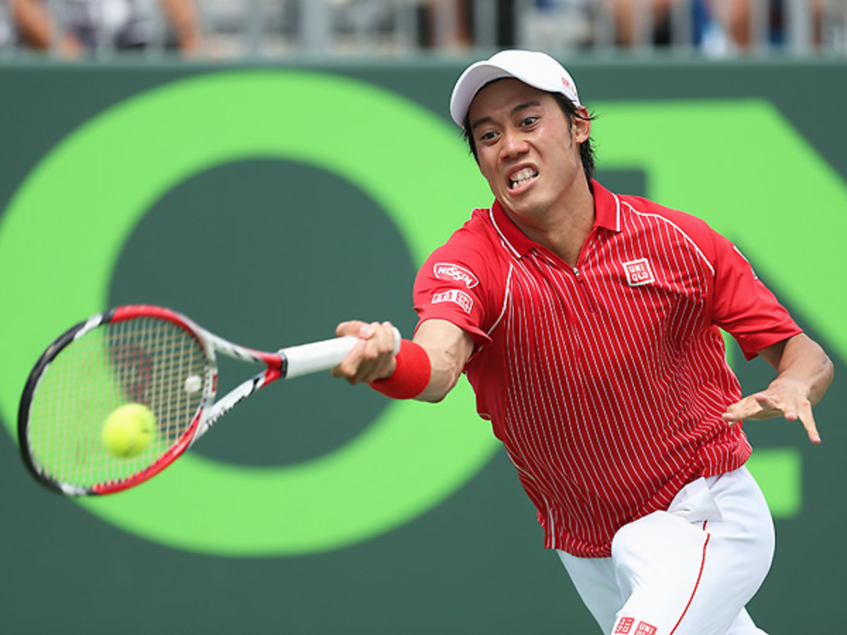 Kei Nishikori was sharp in his upset of David Ferrer on Tuesday afternoon. (Clive Brunskill/Getty Images)