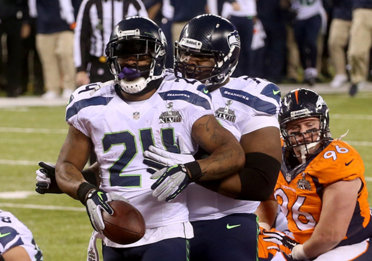 Marshawn Lynch scored a one-yard touchdown in the Super Bowl. (Stephen Dunn/Getty Images)
