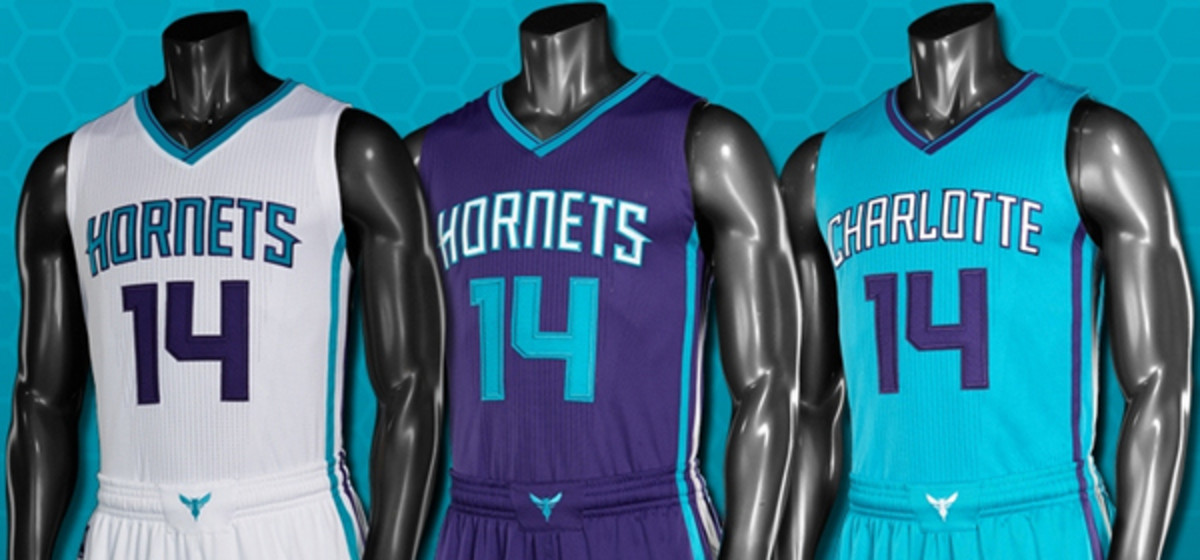 The Charlotte Hornets unveiled three new jersey designs for the 2014-15 season.