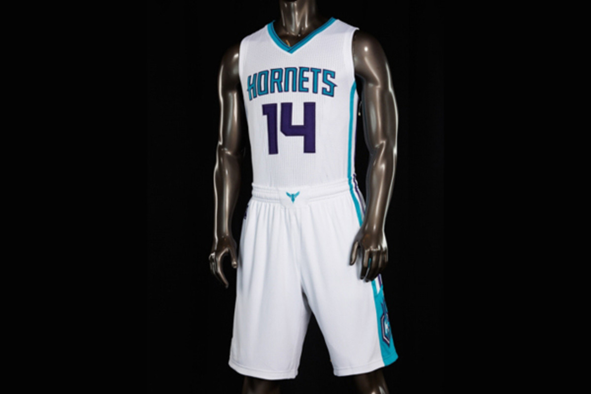 The Charlotte Hornets' new white home jerseys.