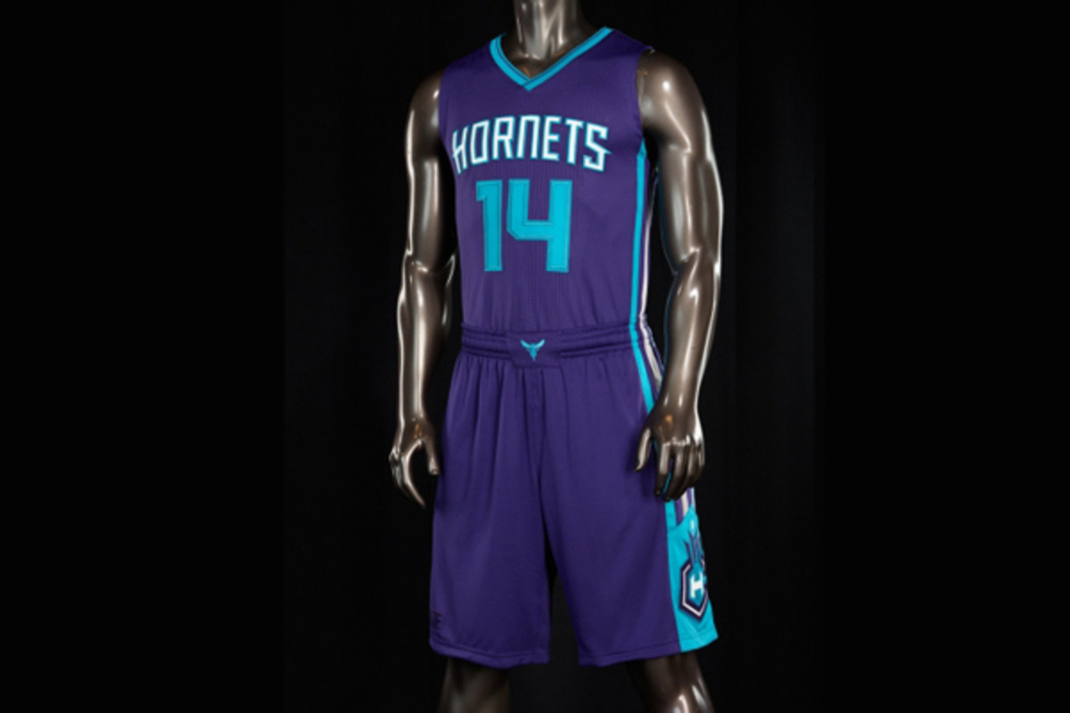 The Charlotte Hornets' new purple road jerseys.