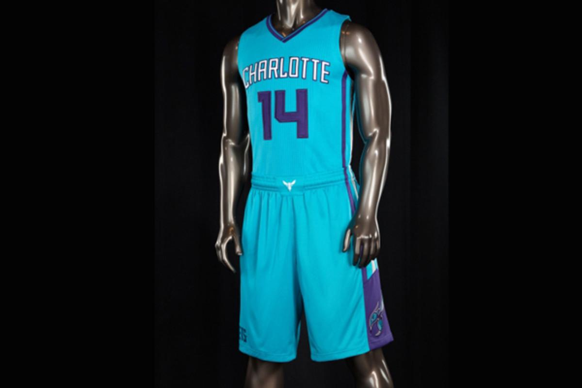 The Charlotte Hornets' new teal alternate jerseys.
