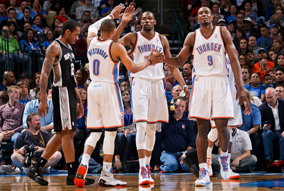 With Serge Ibaka (far right) sidelined, an even bigger burden falls on the Thunder's superstar duo.
