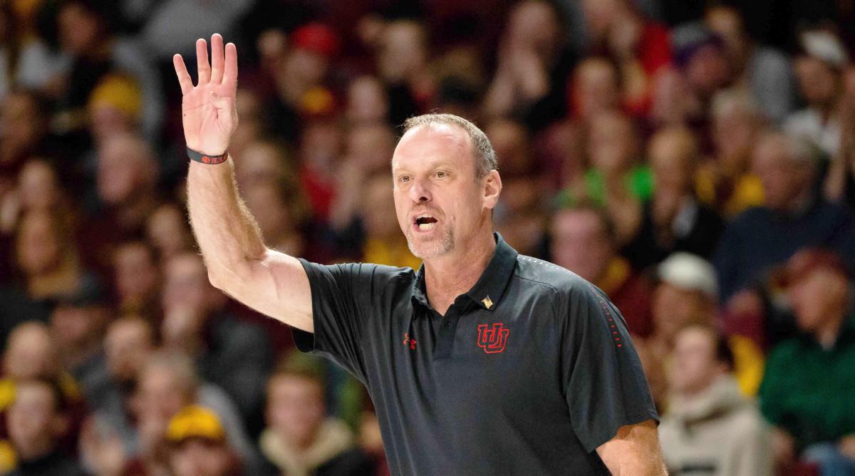Nov 12, 2018; Minneapolis, MN, USA; Utah Utes head coach Larry Krystkowiak in the first half against Minnesota Gophers at Williams Arena. Mandatory Credit: Brad Rempel-USA TODAY Sports