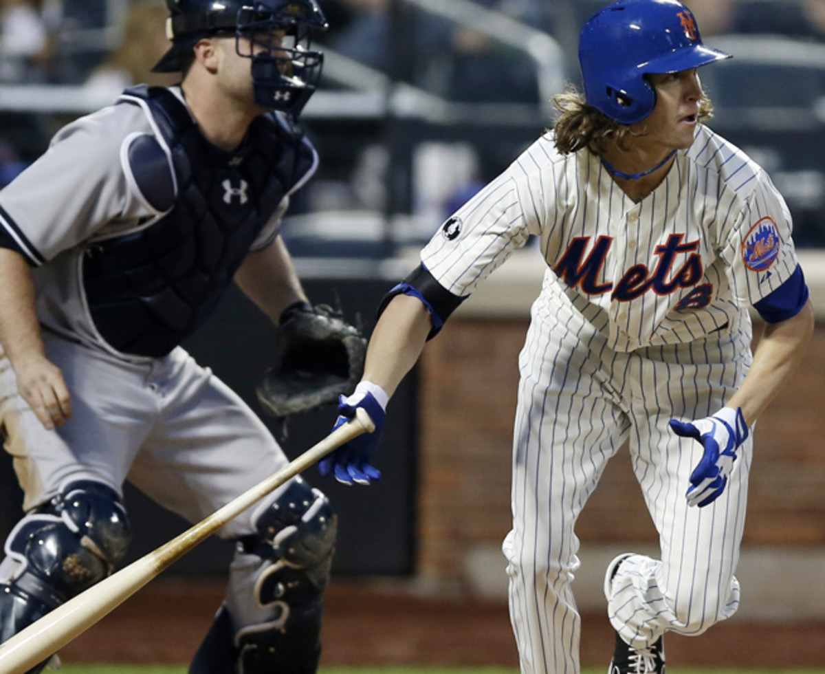 Jacob deGrom picked up his first major league hit and the first for a Mets pitcher this season.