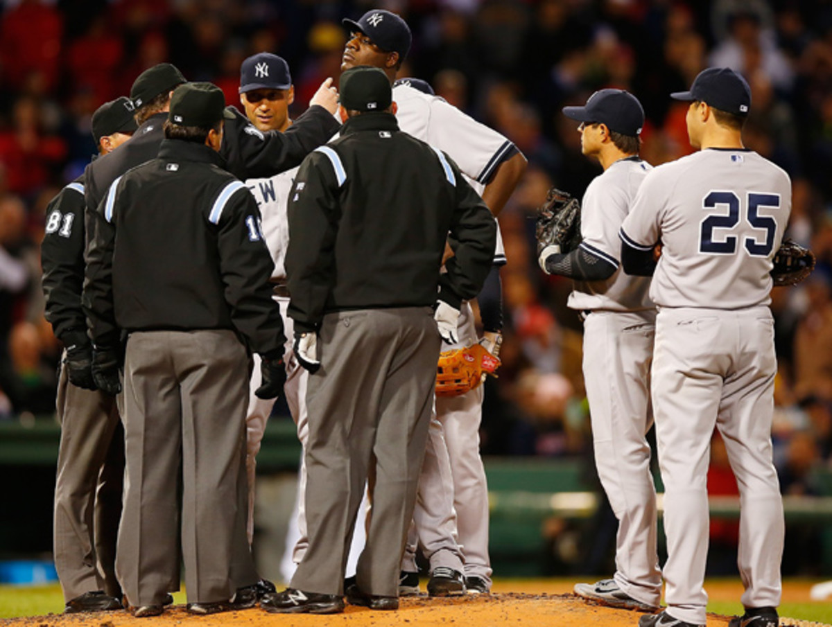MIchael Pineda was tossed after being inspected for a foreign substance on his neck. (Jared Wickerham/Getty Images)