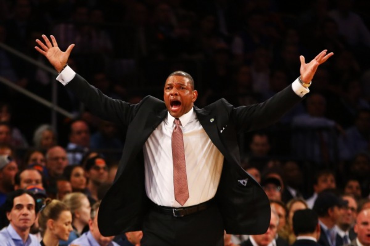 Doc Rivers and Danny Ainge are expected to meet over the week to discuss Rivers' future. (Photo by Al Bello/Getty Images)