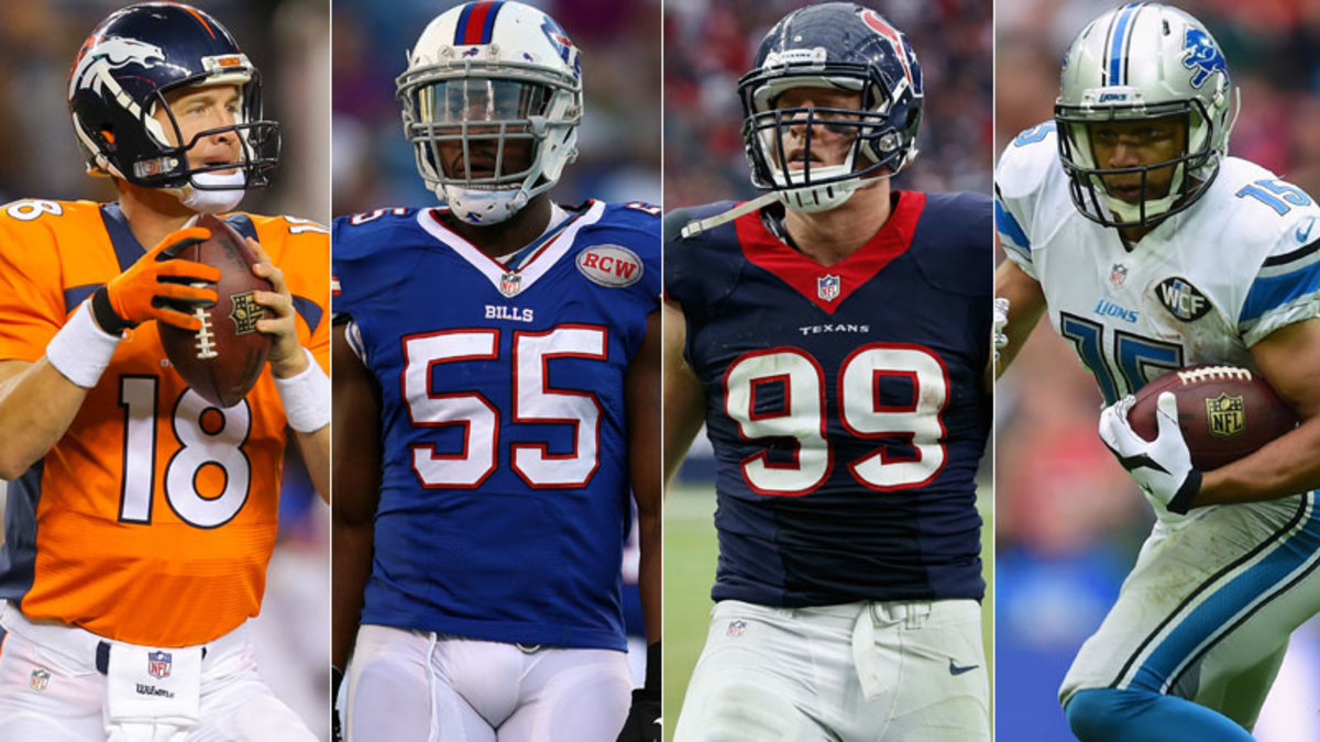 From left to right: Peyton Manning, Jerry Hughes, J.J. Watt and Golden Tate. (Getty Images/4)