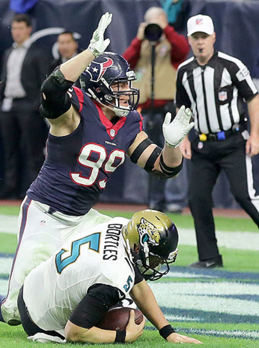 J.J. Watt's final game of a remarkable season included a safety. (Thomas B. Shea/Getty Images)