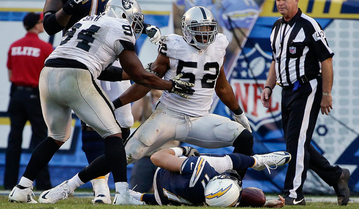 No. 5 overall pick Khalil Mack started every game for the Raiders as a rookie this season. (Gregory Bull/AP)