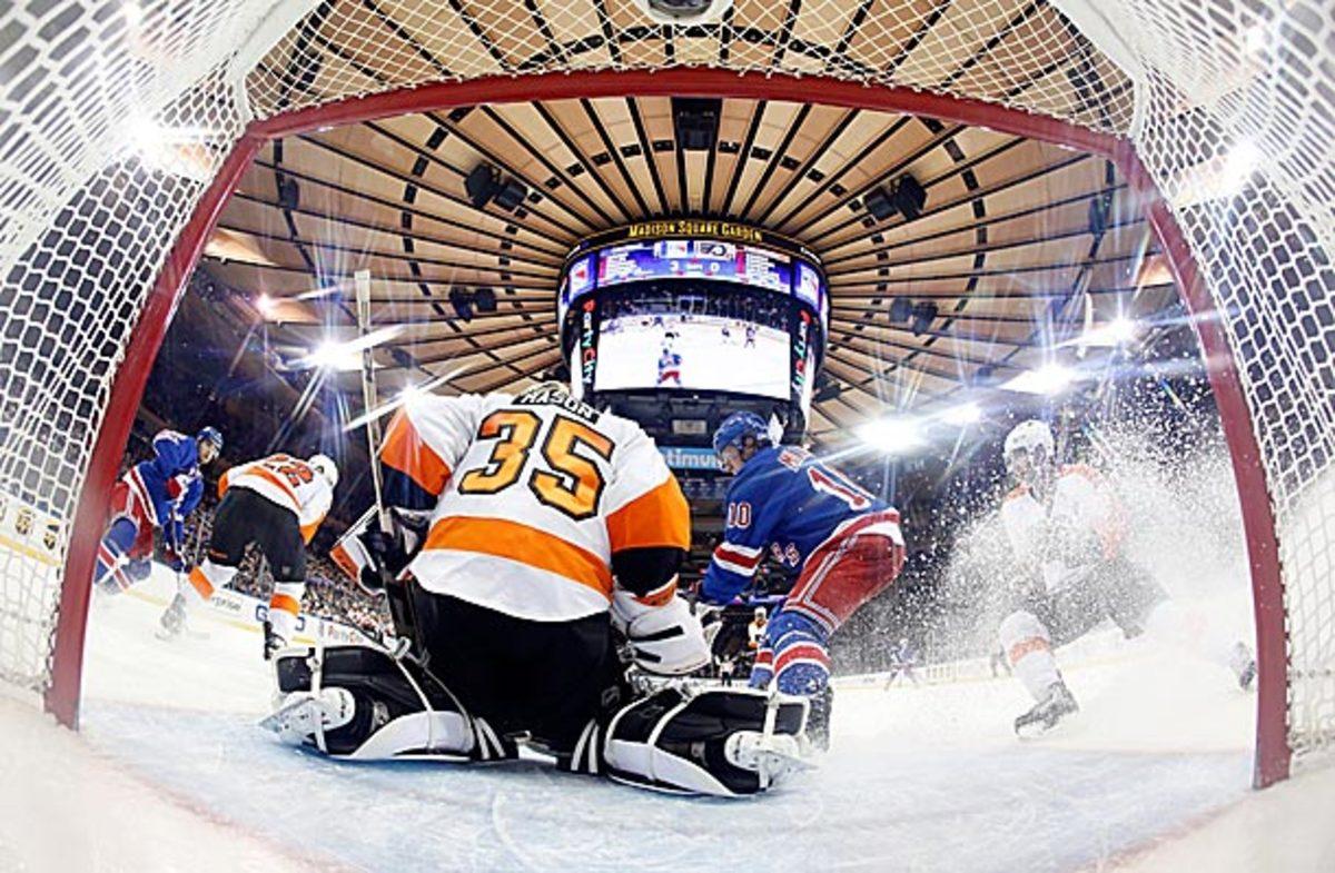 Goalie Steve Mason of the Philadelphia Flyers vs. the New York Rangers