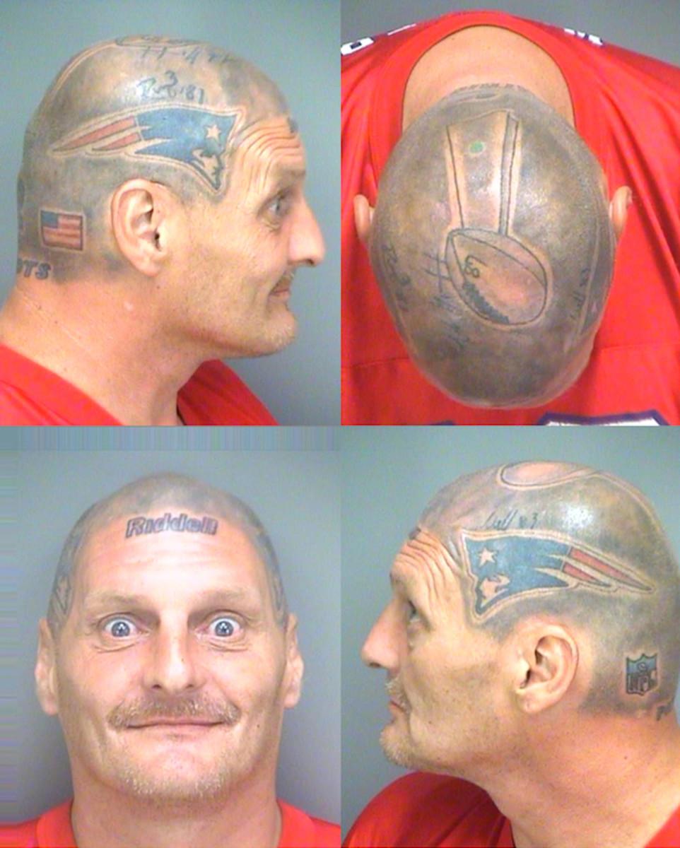 new england patriots helmet head tattoo