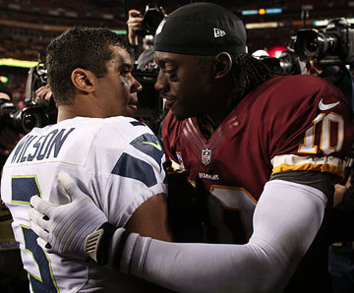 Russell Wilson and Robert Griffin III will meet on Monday Night Football. (Win McNamee/Getty Images)