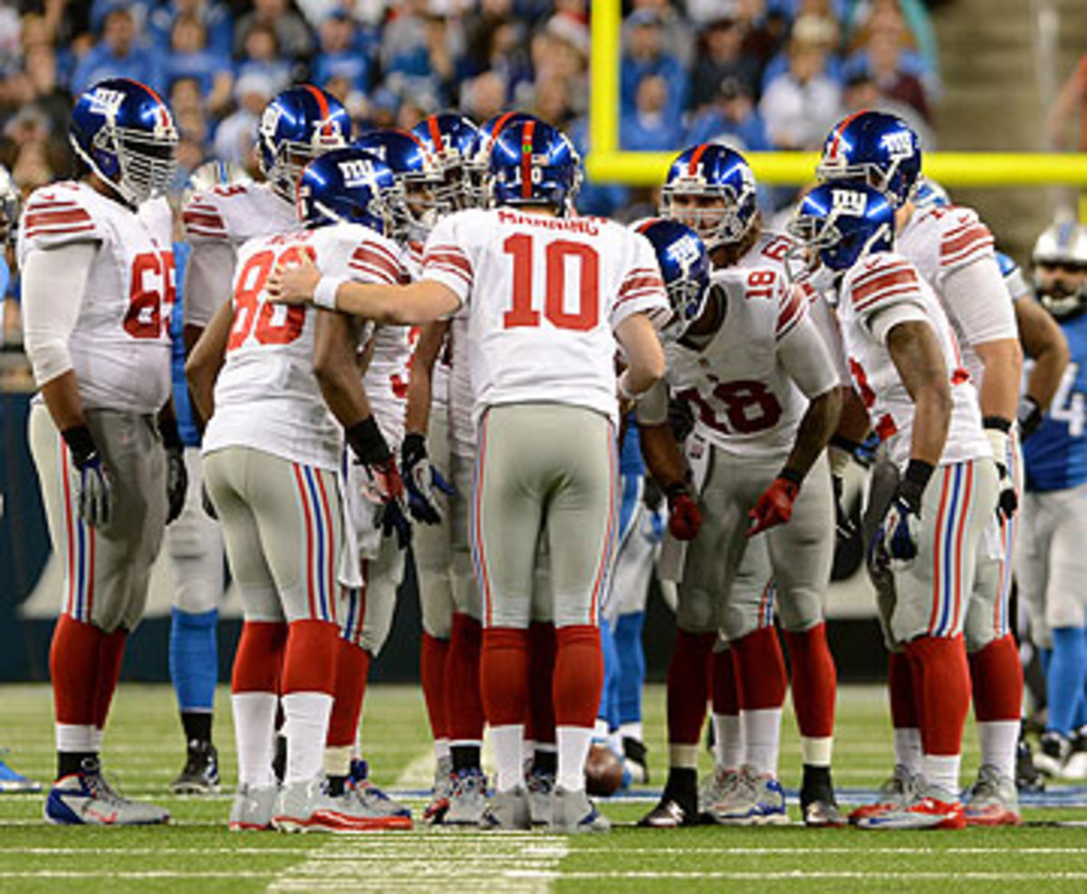 Eli Manning and the Giants won't have to wear road whites for three straight weeks, thanks to the patience of the schedule-makers. (Mark Cunningham/Getty Images)