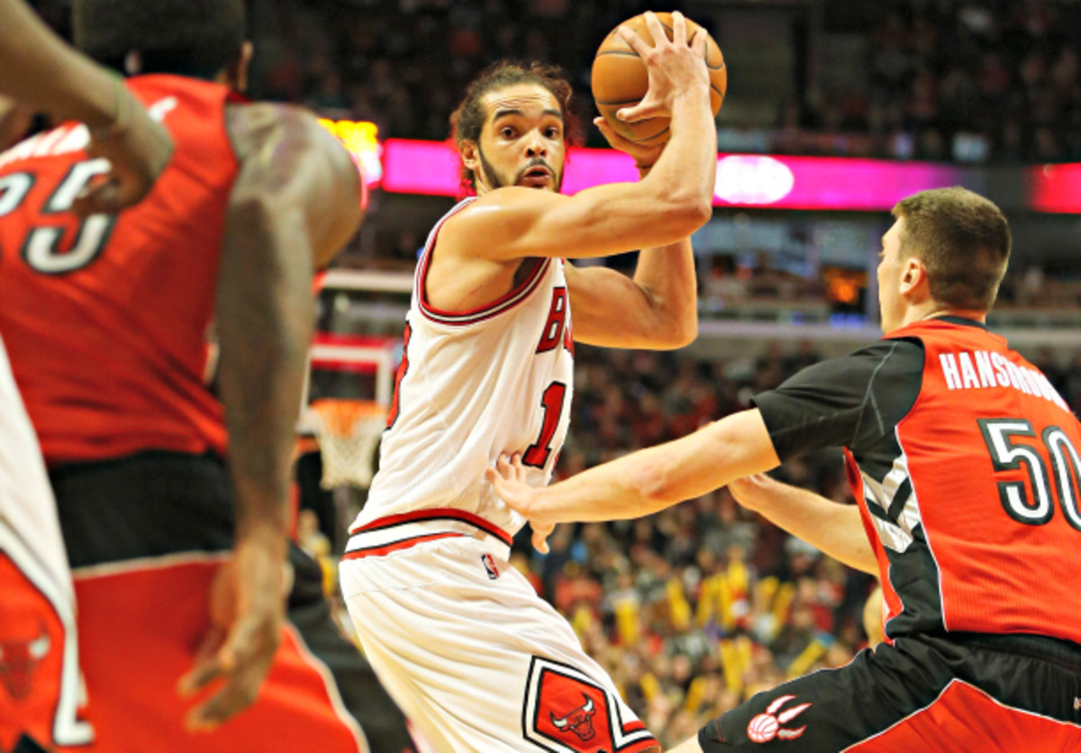 Joakim Noah's ability to read the floor and make plays gives him offensive value to complement his standout defense. (Anthony Souffle/Chicago Tribune/MCT via Getty Images)