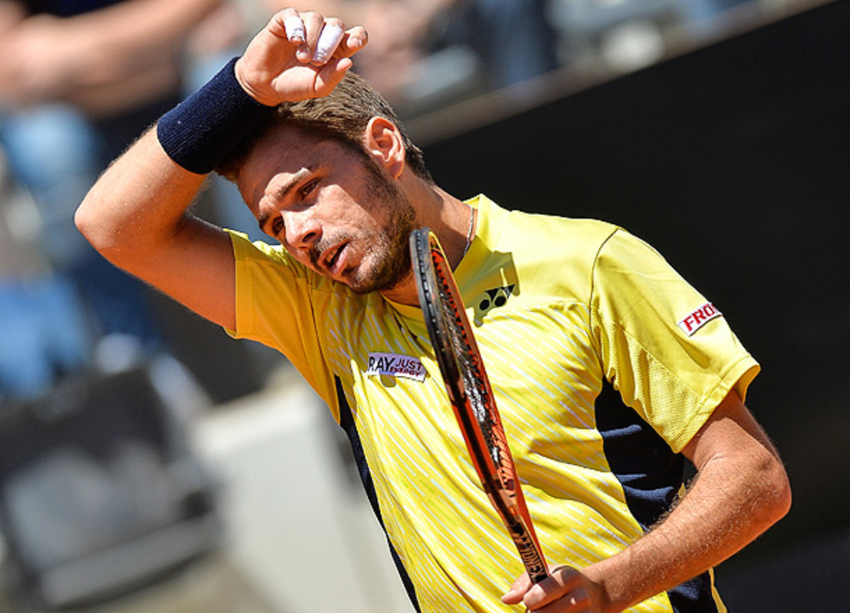Australian Open champion Stan Wawrinka won only two games in the final two sets of his first-round match. (ANDREAS SOLARO/AFP/Getty Images)