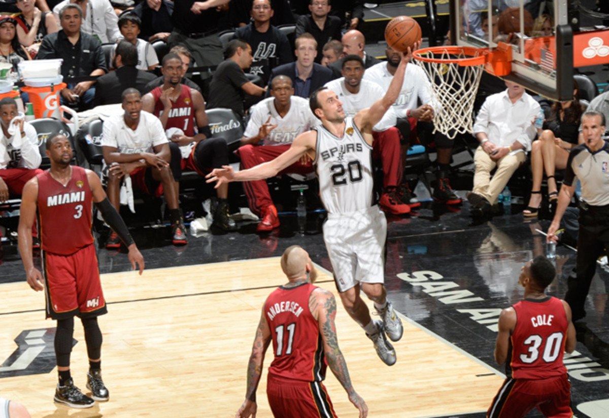 Manu Ginobili (20) finished Game 1 with 16 points and 11 rebounds.