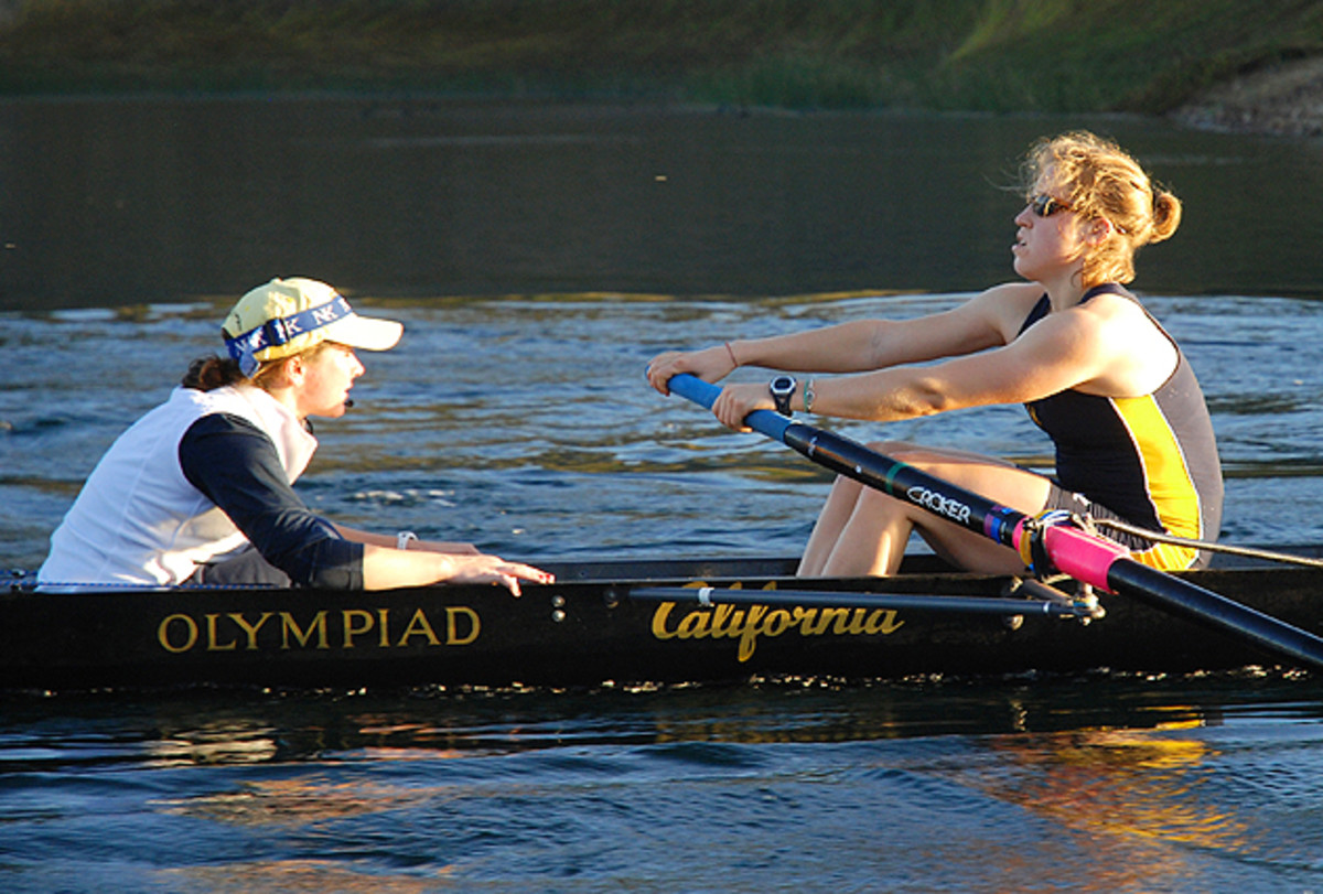Jill Costello (left) in action as one of the coxswains of the Cal women's rowing team.