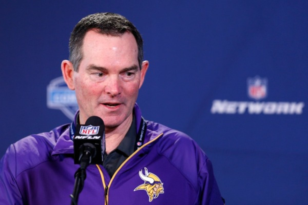 Mike ZImmer has uncertainty at quarterback as he enters his first season as head coach of the Vikings. (Joe Robbins/Getty Images)